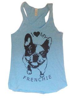 Womens FRENCHIE French Bulldog Tri Blend Tank Top Alternative Apparel Gray, Turquoise, Black, Green S M L XL