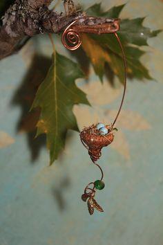 Fairy garden miniature acorn bird's nest with tiny brass leaf charm