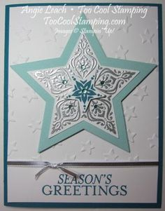 Bright & Beautiful Silver Embossed Card - card from September's Countdown-to-Christmas class series.  bright & beautiful, lucky stars, stars, confetti stars, too cool stamping, stampin up, cards, holiday, christmas