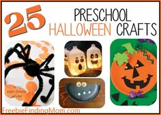 25 Preschool Halloween Crafts (Good for Kindergarteners too!) - Get the kids ready for ghost and goblin time with these milk jug lanterns, paper plate pumpkins, Q-tip skeletons and more.