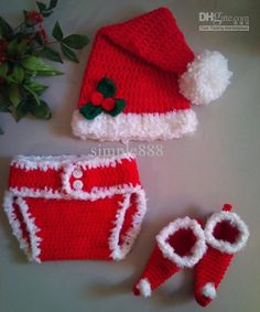 Christmas crochet hat diaper cover boots