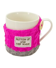 Lovely: 'Button Up' Sweater Cover & Mug