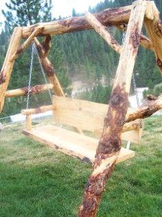 log furniture, log swing