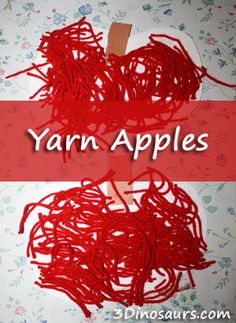 Yarn Apple craft & Book Up, Up, Up It Apple Picking Time - 3Dinosaurs.com