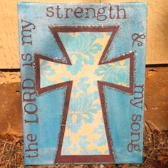 The Lord is my strength the lord, song, friends, gift ideas, bathrooms, gifts, crosses, canvases, beauti cross