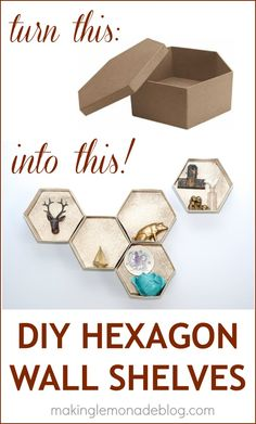 Easy DIY Hexagon Wall Shelves-- for under $15! The wooden version can cost hundreds of dollars. Here's a quick and easy way to add these trendy little shelves to your home on a dime!  #DIY #knockoff