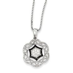 1/3 Carat Black White Diamond Pendant Necklace In Sterling Silver Available Exclusively at Gemologica.com