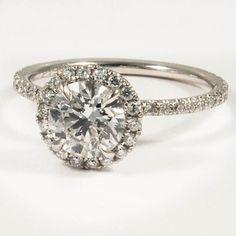 very pretty.  Platinum Waverly Diamond Ring - Set with a 1.33 Carat, Round, Super Ideal Cut, F Color, VS2 Clarity Diamond #BrilliantEarth