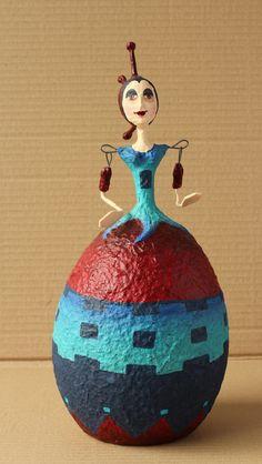 Paper Mache Balloon Doll - Nina