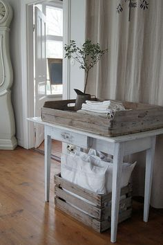 wooden crates filled with linens