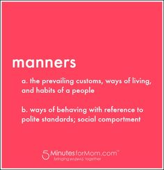 Manners All Tweens S