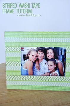 Striped Washi Tape Frame Tutorial