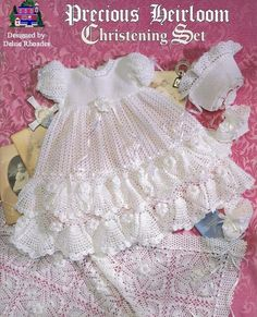 Crochet Christening  Gown Outfit - Baby dress blanket and booties pdf e pattern by Delsie Rhoades. $7.95, via Etsy.