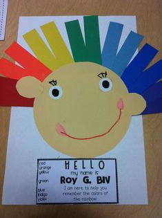 ROY G BIV. Kids would love this color art, rainbow crafts, teaching colors, weather unit, teaching kids, weather lesson, rainbow colors, art activities, preschool learning