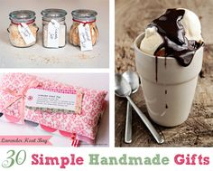 30 Simple Handmade Gifts -- lots of great ideas I want to try!!