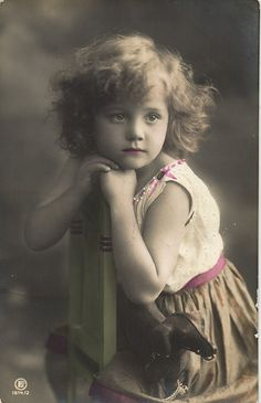 Edwardian Cutie Blond Girl with Toy Dachshund Horse Photo Postcard CA 1910