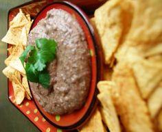 guilt-free black bean dip + tortilla chips