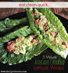 5 Minute Avocado Chicken Lettuce Wraps - Daily Rebecca