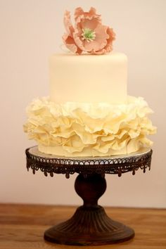 Ruffles & Peony Cake. #wedding #bridal #cake
