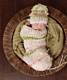 Hand-Knit Lime Stripe