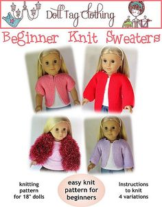 Ravelry: Beginner Knit Sweater for 18 inch Dolls pattern by Liese Brouwer