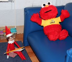 I see Cuddles works on the week-ends.... A counseling session with Elmo.
