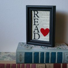 framed Read - painted letters, heart on old book page