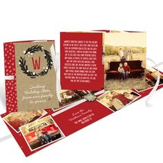 An evergreen wreath with touches of snow sets the tone on the front of these beautiful Christmas cards, folded and tied with a ribbon. #christmascards #holidayphotocards #peartreegreetings #unique #booklet