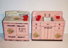 Pink Tin Toy Kitchen Appliances Stove and Sink 1950s