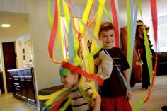 Swirling Rainbows- attach streamers to the ceiling fans