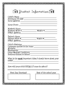 Student Information Form (Beginning of Year)