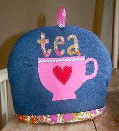 Denim I Heart Tea cosy
