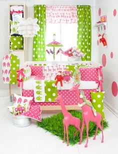Ellie and Stretch Baby Bedding - Hot Pink and Lime Elephant and Giraffe Crib Bedding