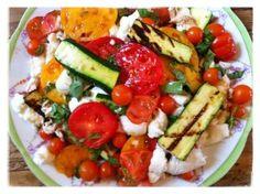 tomato, mozzarella salad, grill zucchini, food