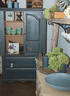 Salvaged Inspirations | Featuring Pleasant Pickin's Open House | Chalk Painted Blue-Hutch