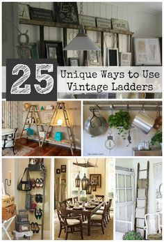 Driven By Décor: 25 Unique Ways to Decorate with Vintage Ladders - lots of great uses! Drape blankets or magazines over the rungs in the living room, towels in the bathroom, stacks of books on the shelves, pot racks, and lots more!