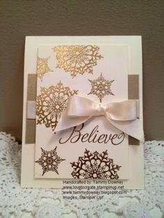 Believe Gold Embossed Christmas Card- Snowflake Soiree stamp set