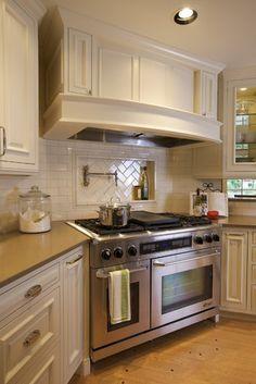 Corner stove on pinterest corner wood stove birch for Corner cooktop designs kitchen