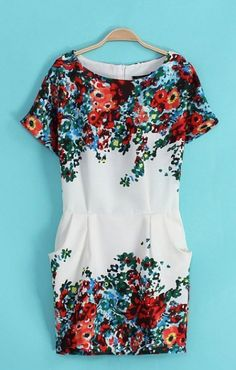 O-neck Short Sleeves Floral Dress
