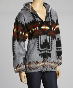 Charcoal Southwest Zip-Up Hoodie by EARTH RAGZ #zulily #zulilyfinds  Zulily got me again! ski resorts, zipup hoodi, style, cloth, colors, charcoal southwest, hoodi featur, earth, construction
