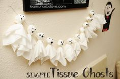 Tissue Ghosts - a fun and easy Halloween craft from LearnCreateLove.com