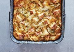 Savory Bread Pudding with Artichokes and Two Cheeses | Vegetarian Times
