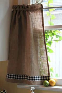 Burlap and Gingham Kitchen Curtain.