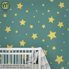 Modern Nursery Star Wall Decals for Childrens Room or Baby Nursery - Large - MDA0116C1