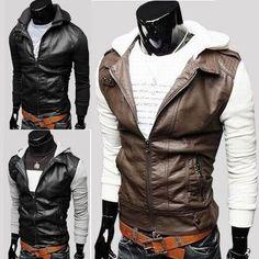 Fleece Sleeve Slim Fit Leather Hoodie Jacket