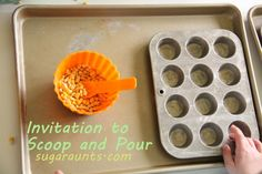 Scooping and Pouring for Toddlers and Preschoolers~ work on #finemotor control (spoon use), bilateral coordination, visual perceptual skills, & self-confidence with this fun and less-messy play~ By the #SugarAunts