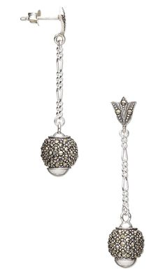 Earrings with Sterling Silver and Marcasite Beads and Sterling Silver Chain by Rose Wingenbach.