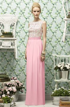 Lela Rose long rose bridesmaid dress