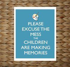 Playroom Wall Art - Paint Mess Memories -  8x10 printed digital wall decor - original design by a drop of golden sun.