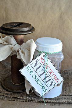 Simple Christmas Gift Ideas- Sugar & Spiced Nuts with cute printable www.thirtyhandmadedays.com